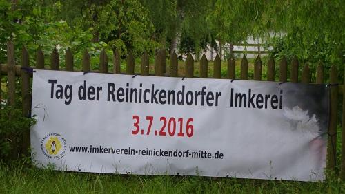 Banner zum Tag der Reinickendorfer Imkerei 2016 auf der Familienfarm