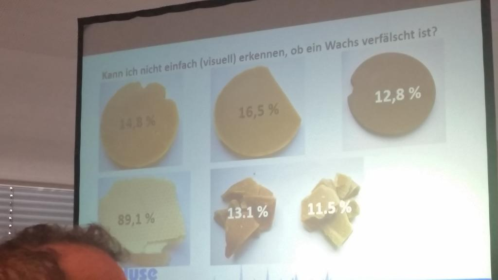 Dr. Scholz (Fa. Ceralyse) zeigte, dass sich reines Bienenwachs visuell oder taktil nicht erkennen lässt - von fast reinem Paraffin (unten links) bis reinem Bienenwachs (oben rechts afrikanisches Wachs) sind alle Farben dabei (jeweils % Kohlenwasserstoffe - je weniger, desto reiner)