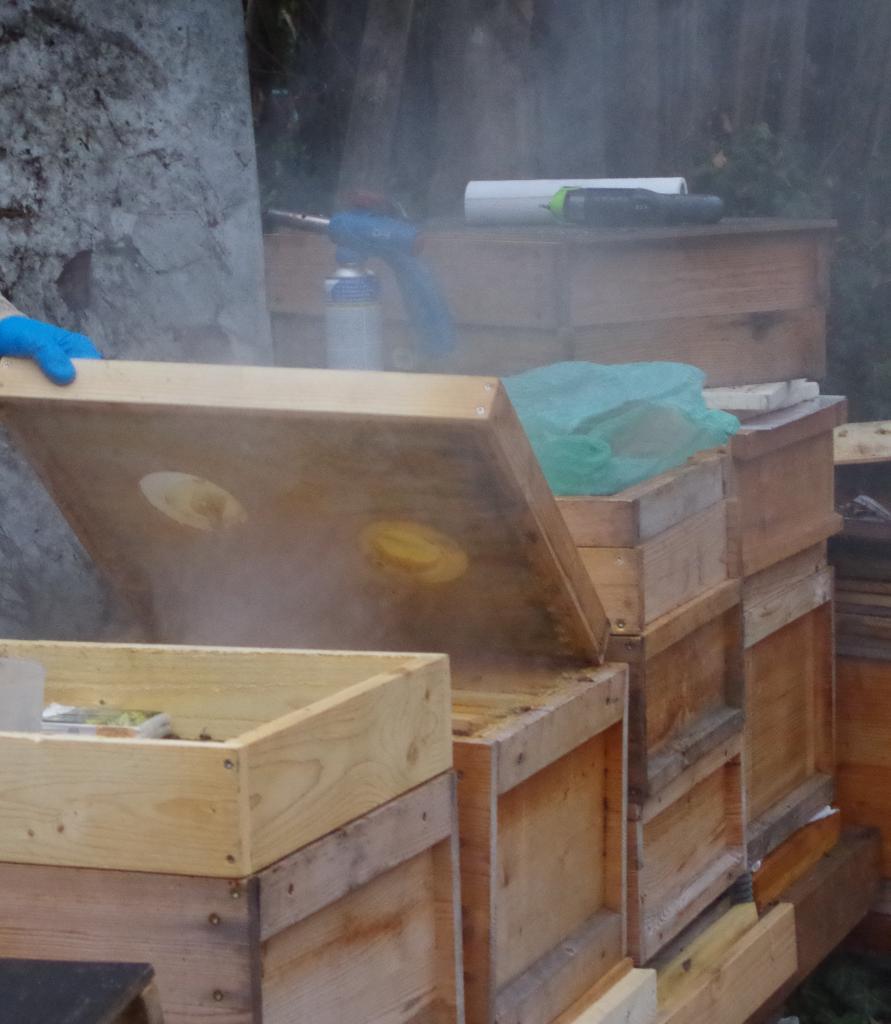Nach zwei Minuten sind die Bienen tot. Allerdings dauert es noch etwas länger bis sich der Qualm gelegt hat und man die Dose entnehmen kann.